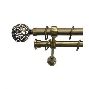 """Карниз """"Ажур"""", двойной, античное золото, Ф 19/19 мм"""