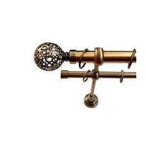 """Карниз """"Ажур"""", двойной, античное золото, Ф 25/16 мм"""