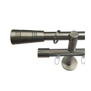 """Карниз """"Аполло"""", двойной, эффект стали, Ф 20/20 мм, Германия"""