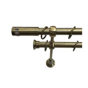 """Карниз """"Имидж"""", двойной, античное золото, Ф 19/19 мм"""