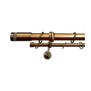 """Карниз """"Имидж"""", двойной, античное золото, Ф 25/16 мм"""