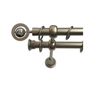 """Карниз """"Кольцо"""", двойной, матовый хром, Ф 19/19 мм"""