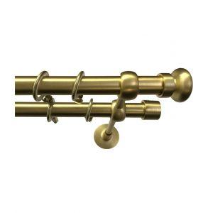 """Карниз """"Соренто"""", двойной, латунь (матовое золото), Ф 19/19 мм"""