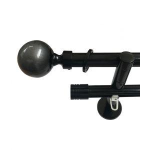"""Карниз  """"Шар-стекло"""" серебряный орнамент"""", двойной, чёрный глянец, Ф 20/20 мм, Германия"""