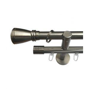 """Карниз """"Сиро"""", двойной, эффект стали, Ф 20/20 мм, Германия"""