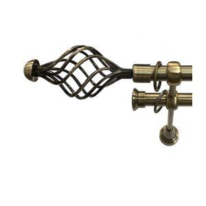 """Карниз """"Вираж"""", двойной, античное золото, Ф 19/19 мм"""