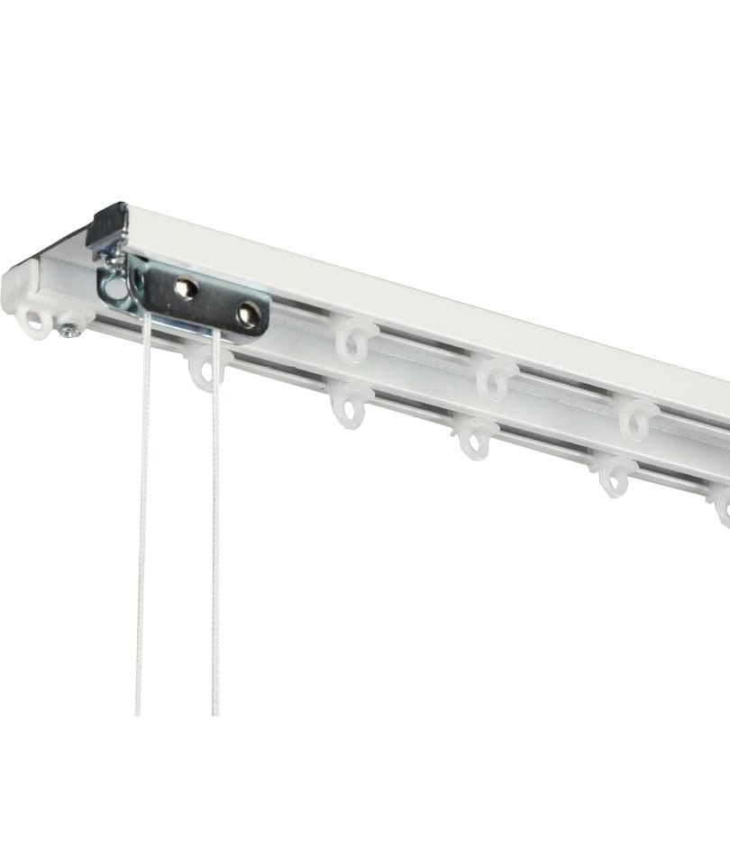 Алюминиевый двухполосный карниз в сборе, 2,5м,  с управлением, алюминий
